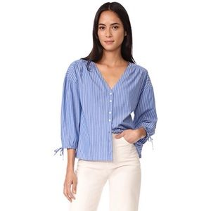 Madewell Pinstripe Tie Sleeve Button Down